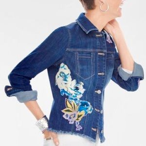 Chico's Floral Appliqué Denim Jacket in Petite